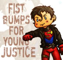 Fist bumps - Superboy- by CrimsonEscapist