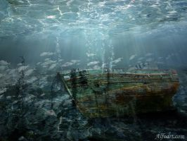 Sunken ship by AlexandraF