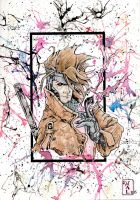 Gambit X-men Watercolor by tenshiflyers