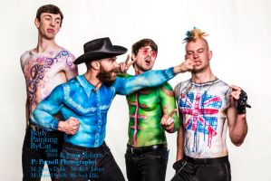 Paintopia Music promo bodypaint western fight punk by Bodypaintingbycatdot