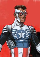 Daily Sketches Sam Wilson as Captain America by fedde
