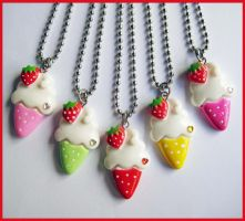 Cute Ice Cream Necklaces by cherryboop