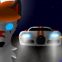 Night wolf and car by SaraTheDog848