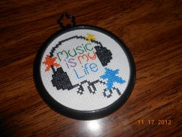 Music is My Life Cross Stitch (Kit) by FireWings26