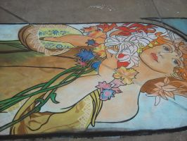 Chalk 'Flowers' by Mucha by Chelle-my-Belle