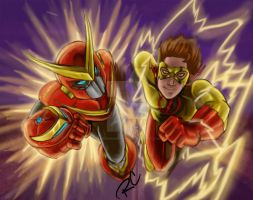 Quickman Vs Kid Flash by aducknamedhope