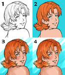 Step by step coloring Nora by LutherOMight