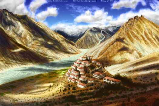 Tibetan Monestary Hillside by Stoskri