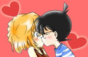 Detective Conan kiss haibara love by black4869