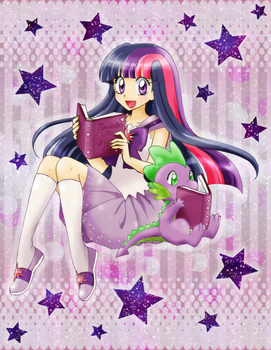 Twilight Sparkle and Spike by chikorita85
