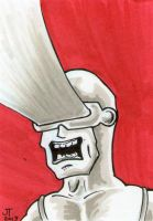 Cyclops Red Sketch Card by johnnyism
