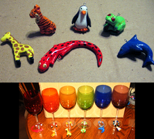 Animal Wineglass Charms by HollieBollie
