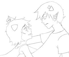 Sollux and Nepeta Lineart by Sparks-Frost