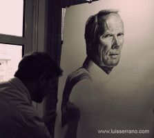 Clint Eastwood WIP 4 by legserrano