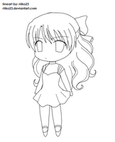 anime chibi girl lineart by riiko23