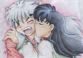 Kiss on the cheek for InuYasha by cowgirlem