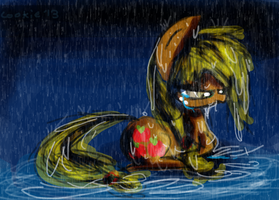 Applejack in The Rain by Mushroom-Cookie-Bear