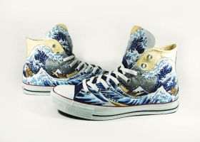 The Great Wave Off Kanagawa Custom Converse by Annatarhouse