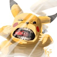 Pikachu use lick glass by kajinman