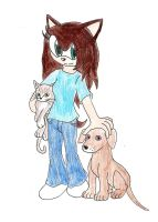 Request: girl with her pets by SorenTheHedgehog