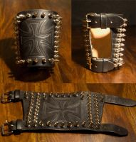spiked Bracers Iron Cross by Wodenswolf