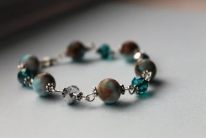 Turquoise And Silver Crystal Bracelet by Clerdy