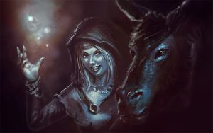 Witch and donkey by Lelyk777