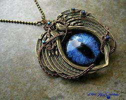Massive Dragon Eye - Angelic Feathers Pendant Blue by LadyPirotessa