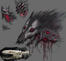 Creature-Doodle:. DemonWolf by Remarin