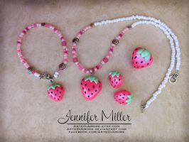 Pink Strawberry Jewelry Set by ArteDiAmore