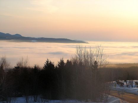 Sea of Clouds Over the River by JocelyneR