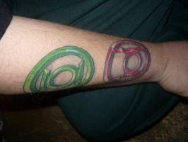 Green and Red Lantern Tattoos by jdionio