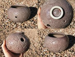 Please Help!! Hand-carved Porcelain Flower Pot by damnheliotrope