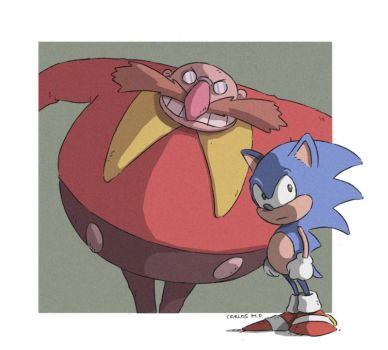 Sonic and Robotnik Eggman fan art dibujo by Carlos-MP