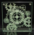 Steampunk Etched Glass Coaster Alternative Design by ImaginedGlass