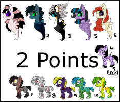 2 Point Adoptable Ponies NEW SEA PONIES! by Chickfila-Chick