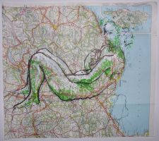 Green nude on map by object000