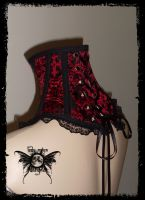 Cross Brocade Neck Corset by annaladymoon