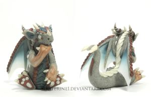 Thinker Dragon, Polymer Clay by MiniMythicalMonsters