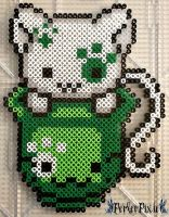 St. Patty's Day Kitty by PerlerPixie