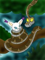 Kaa and Gatomon Redraw Painted by lol20
