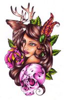 Lady And Stag By Nevermore Ink-d6kcovc by athiens85