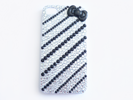 Black and White Deco Bling iPhone Case by Kuppiecake