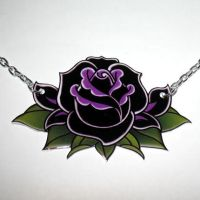 Large Black Rose Necklace by Horribell-Originals
