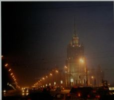 Moscow city orange lights by TopBrick