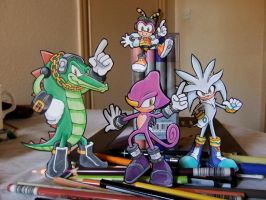 Chaotix + Silver paperchildren by tavington