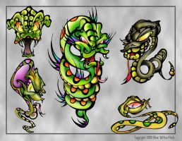 Snakes Tattoo Flash by BeeJayDeL