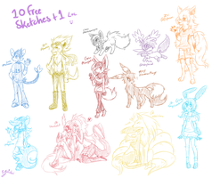 10 Free Sketches Plus 1 by FENNEKlNS