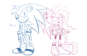 Older Sonic and Amy W.I.P by Eokoi