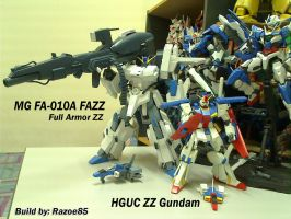 MG FAZZ and HGUC ZZ by Razoe85